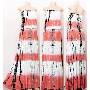 Tie Dye Soft Jersey Knit Boho Strapless Maxi Dress